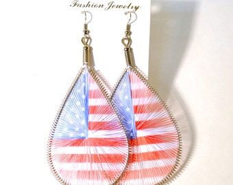 American Flag Feather Earings