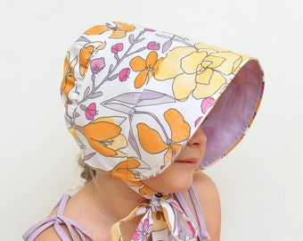 Floral bonnet Girls sun hat Floral bonnet Reversible bonnet Cotton sun bonnet lavender bonnet Toddler bonnet Reversible sun hat Sunbonnet