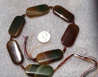 Natural brown and green large agate beads