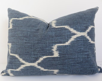 Pillow Cover 12x16 -Blue Pillow cover-  Ikat blue pillow - Navy Blue Pillow - Navy Pillow - Morrocan Pillow