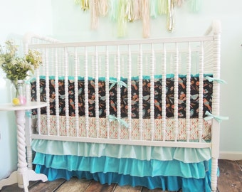 Crib Bedding with Bird Print in Aqua, Coral, Gray, and Gold and Ombre/Gradient Crib Skirt