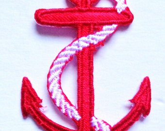 anchor red with white rope iron on applique