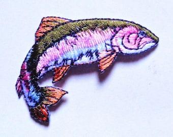 Rainbow trout iron on applique