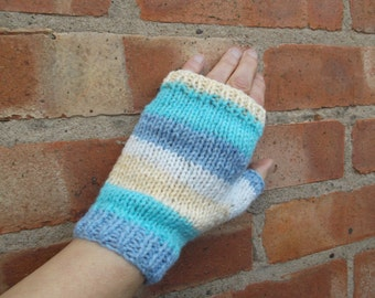 Striped fingerless gloves - blue/green/lemon/white - one size - adults/teens/kids/autumn/winter/spring/knit accessory/gift