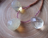 Pineapple quartz necklace with garnets and tiny fragrant sandalwood beads three briolette quartz yoga necklace 19""