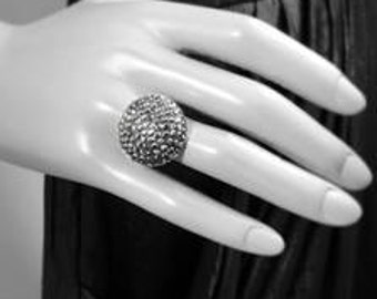 Beautiful Black Crystal Dome Sterling Silver Ring