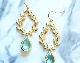 Bridal Earrings Gold Turquoise Wedding Earrings Aqua Blue Dangling Earrings for Bride Bridesmaids Gift Modern Elegant Chic