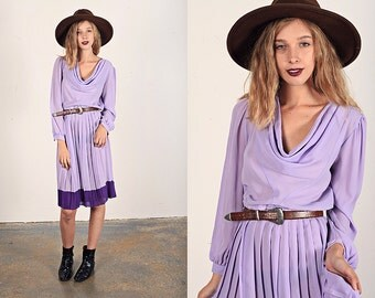 Vintage 70s Lilac Dress Purple Pleated Spring Color Block Dress