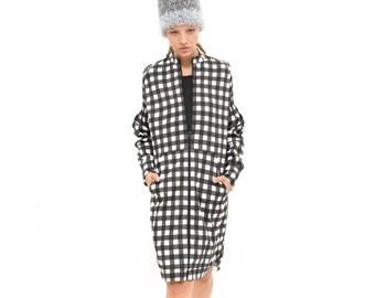 Plaid top, zip up hoodie, Zip Sweatshirt, All over print, oversized sweatshirt - everyday dress- Hoodie Dress - cool dress, timeless dress