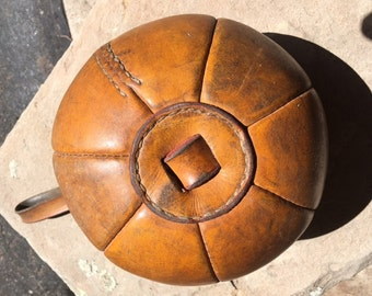 Vintage Leather Punching Medicine Ball with Strap