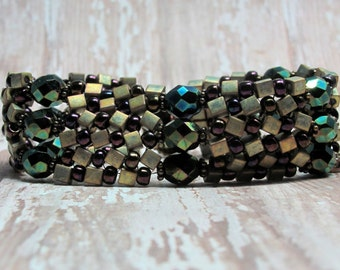 Beaded Bracelet, Herringbone Stitch Bracelet, Seed Bead Bracelet, Autumn Bracelet, Fall Bracelet, Woven Bracelet, Beaded Bracelet, Handwoven