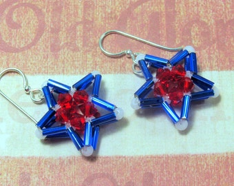 Blue Star Earrings, Red, White & Blue Earrings, Patriotic Earrings, Holiday Earrings, Fourth of July Earrings, July 4th Earrings, Star