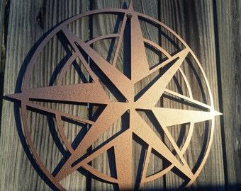"""Nautical Décor Compass Rose Wall Art – Metal Compass Art 22""""– Nautical Compass for Inside/ Outside– Wedding Gift Housewarming Gift"""