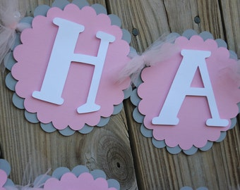 Pink and Gray Birthday Banner