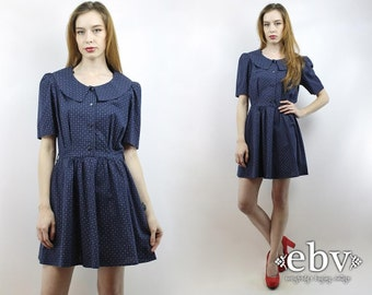 90s Floral Dress 90s Dress Navy Dress 90s Mini Dress Dolly Dress Puff Sleeve Dress Vintage 90s Navy Floral Babydoll Dress S M L