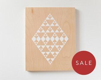 "Sale - Diamond Screen Print on Wood - 11x14"" Wall Decor"