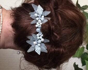 Bridal Hair Comb, Wedding Hair Comb,  Bridal Comb Swarovski pearls, Bridal Comb,  Bridal Headpiece
