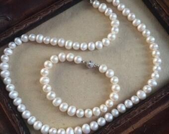 Wedding Jewelry set, Bridal Freshwater Pearl Jewellery set, Wedding Necklace,  Wedding Bracelet