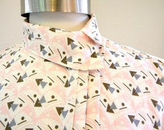 Gorgeous Pink 1980s Silk Blouse / Geometric Retro Print Secretary Blouse / High Neck Asymmetrical Oversize Career / Size M - L