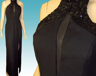 Vntg MIKE BENET Sexiest Gown Ever Bust 40 UNWORN Backless Halter Top Black Sequins Prom Black Tie Dress Formal