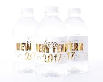 METALLIC FOIL New Years Party Water Bottle Labels - New Years Eve Water Labels - Gold Foil Water Bottle Labels - New Years Party Decorations