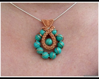 Turquoise Pendant, wire wrapped in Copper, with chain