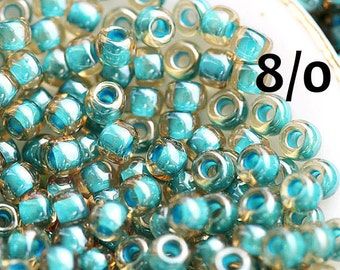 Toho Seed beads, size 8/0, Turquoise Lined - Inside color Jonguil, N 953, rocailles, blue green glass beads - 10g - S812