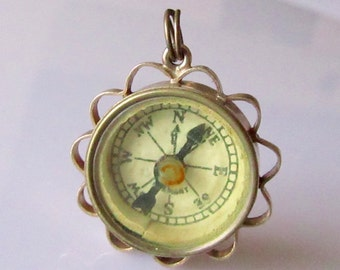 Rare 9ct Gold Working Compass Charm