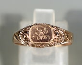 Antique Georgian Gold Plated Ring Etched Flower Ring French Ring Ring Size 8.70 US