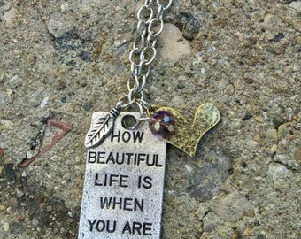 Beautiful Life Stamped Pendant Necklace