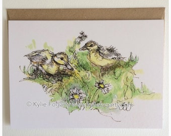 Fine Art Greeting Card, Spring, Ducklings, Daisies, Flowers, Baby Animals Contemporary Landscape, Figurative Kylie Fogarty, Blank Card