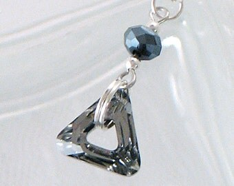 Swarovski Crystal Triangle Necklace - Black Diamond - DaintyNecklace - Gifts Under 20