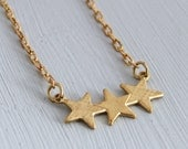 Star Necklace .. three star necklace, gold star, gold necklace, simple jewellery