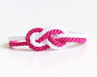 Sailor Knot Bracelet White and Hot Pink with Anchor Charm