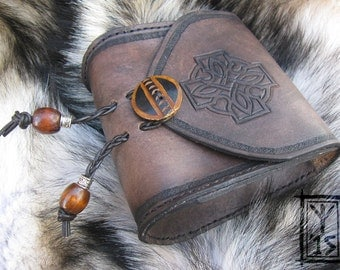 Custom leather belt pouch with Celtic knot design