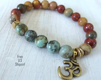 African Turquoise, Picasso jasper, Yoga Bracelet, bracelet, Reiki Charged, wrist mala, Turquoise bracelet, om,