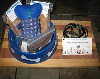 Custom Large Doggy Gift Basket with Homemade Treats + Bandana & Toy
