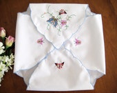 Vintage Bread Basket Liner, Colorful Embroidered Butterflies, Scalloped Hems