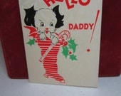 Adorable unused art deco 1930's Gibson christmas card to Daddy black and white puppy inside a stocking with holly berry holds a candy cane
