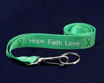 Green Lanyard Kidney Awareness Bipolar Disorder Celiac Disease Tramatic Brain Injury  Depression  Leukemia  Gallbladder and Liver Cancer