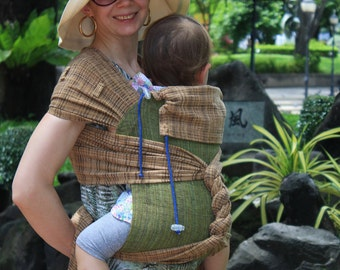 BaBy SaBye Wrap Mei Tai sling hand-woven two-side with a hood TODDLER size model72 BeigeBrown/Green