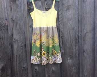 M Beach sundress hippie boho dress Yellow sundress upcycled dress bold floral