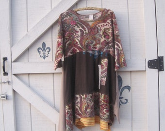Hippie Dress, vintage patchwork, Artsy dress, Lagan look, rustic gypsy, Tattered dress, M-L,