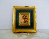 Vintage Mini Small Original Oil Painting Gold Gilt and Green Frame Bouquet of Flowers in Vase