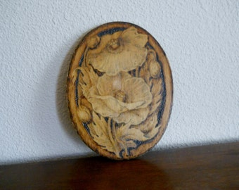 Vintage Pyrography Burned Wood Flemish Art Oval Wall Plaque Poppies 858