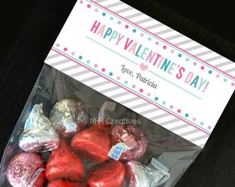 Personalized Happy Valentine's Day Treat Bag Topper - Dots - DIY Printable Digital File
