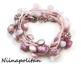 Pink Parfait Wrap Bracelet / Necklace / Anklet - Ready to Ship