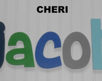 "SALE :) Wall Letters - Painted Wood - Cheri - plus other Fonts - Gifts and Decor for Nursery, Home, Playrooms, Dorms - 12"" Size"