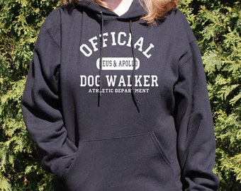 Personalized Dog Walker Any Breed Athletic Dept. Hooded Sweatshirt Black White Pink Grey