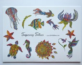 Temporary Tattoo Set - Beautiful Sea Creatures - Colourful Flowers - Hummingbird - 13 different designs